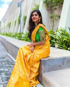 Hot Actress Nabha Natesh attended for 'CMR' shopping mall opening function in the sizzling hot yellow saree. Nabha Natesh looks uber-cool in the pics. Beautiful Girl Photo, Beautiful Girl Indian, Most Beautiful Indian Actress, Beautiful Saree, Beautiful Actresses, Party Wear Indian Dresses, Saree Hairstyles, Bengali Bridal Makeup, South Indian Actress Hot