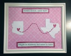Going Away Gift- Picture Frame Map for Sisters, Big, Significant Others and Best Friends. DIY sorority craft for big sister
