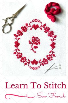 Pretty Free Cross Stitch Pattern by Sew French. Roses. Redwork. Hearts. Hand Embroidery. Learn To Cross Stitch. Tutorial. (scheduled via http://www.tailwindapp.com?utm_source=pinterest&utm_medium=twpin&utm_content=post4382954&utm_campaign=scheduler_attribution)