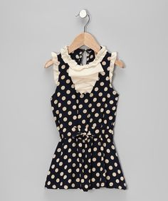 Look what I found on #zulily! Navy & Crème Polka Dot Ruffle Dress - Toddler by Mia Belle Baby #zulilyfinds