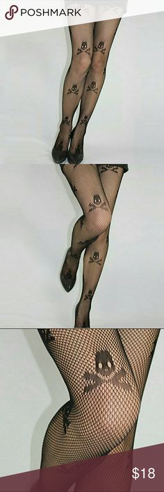 Skull & Crossbones Fishnet Black New Pantyhose Brand new, never worn, excellent quality, in plastic packaging.  One size fits most elastic band waist fish net lace with skull & crossbone pattern pantyhose stockings in black. The net goes all the way to the waist. Perfect to wear under a pair of slashed jeans or other pants, with shorts or a skirt for an edgy modern look! Very goth/punk/kawaii!  More new tights in my closet!  Thanks for visiting, and happy poshing!! :)  SORRY, NO TRADES…