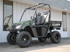 Did you know that you can get an American-made Landmaster LM400 side-by-side UTV with 390cc Honda power, locking differential, and 25-inch tires for just $5190? This green unit is new to our inventory this week.   #AmericanSportWorks #americanmade #madeinUSA #Landmaster #LM400 #sidebyside #UTV #offroad #forsale #PES #Vandalia