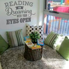 A collection of different classroom reading corner design ideas. Be inspired and then visit TheSimpleStencil.com/schools to find more ideas for your classroom decorating, the easy way!  #booknook #readingcorner #classroomdecor #classroomideas #readingnook #library #reading #readingquotes #books #SimpleStencils