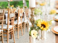 Sundara Wedding | Table Setting, Sunflower, Yellow and Gray, Mr. and Mrs., Chair Signs
