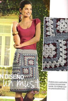 Skirt, irregular granny squares. Free pattern.