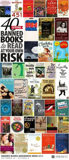 Mark Twain. Kurt Vonnegut. Toni Morrison. James Joyce. Henry Miller. Judy Blume. John Steinbeck. J.K. Rowling. James Baldwin....
