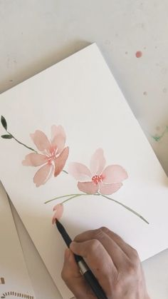 Watercolor Flowers Tutorial, Floral Watercolor, Simple Watercolor Flowers, Watercolor Art Diy, Acrylic Flowers, Watercolor Illustration, Watercolor Paintings For Beginners, Watercolor Art Lessons, Watercolor Techniques
