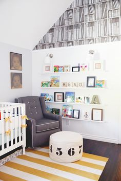 Library themed baby's room...Once Upon a Time…{A Nursery by Elle T. Interior Design} **Click to see where you can find some of these pieces!  Photos by Melody Melikian Photography