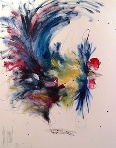 Abstract Rooster - Love the colours of this little bird!