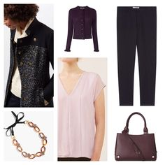 Client brief: update work wardrobe for mild months with versatile separates that can be worn multiply ways always ensuring a polished and professional feel. Coat & top: Jigsaw, cardigan & bag: LK Bennett, trousers: Gerard Darel, necklace: J.Crew
