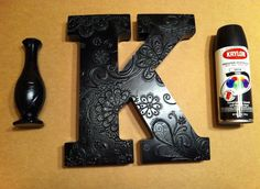 Decorated Letters, elmers glue design and spray paint