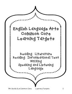FREEBIE - Student learning targets for each ELA Common Core strand/standard - 7th Grade