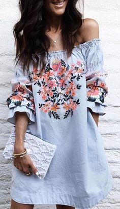 boho chic inspired over the shoulder dress