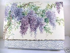 Carol Wilson 10 Blank Note Card Stationery Purple Lilac Wisteria Flowers NIB