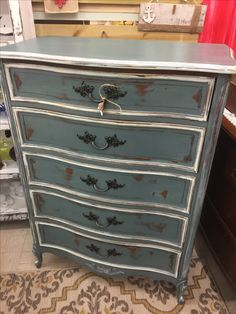 French provincial(Dixie) painted with #dixiebellpaint stormy seas available at commerce street market
