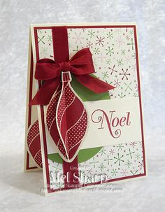 SU! Stamps:  Ornament Keepsakes, Greetings of the Season  Cardstock:  Very Vanilla, Cherry Cobbler, Gumball Green, Be of Good Cheer DSP  Ink:  Cherry Cobbler (by Mel Sharp)