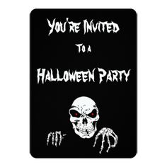 Halloween Skull  Invitation  and white envelopes - diy cyo customize create your own personalize