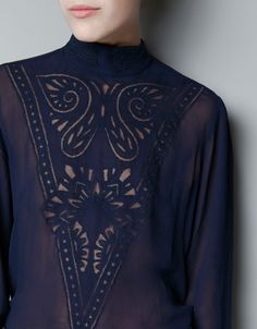 EMBROIDERED TOP WITH LACE BIB - Shirts - Woman - ZARA United States