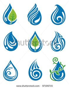 water drops icons - stock vector