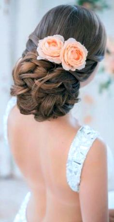 Bride's #chignon #braid ToniK #Wedding #Hairstyles ♥ ❶ peach rose accents low backless gown dress bridal #hair ideas threadsandlaces.co.uk