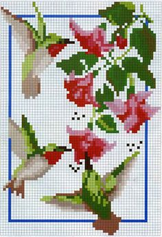 Hummingbird cross stitch - must do for Gladys Butterfly Cross Stitch, Cross Stitch Bird, Cross Stitch Animals, Cross Stitch Flowers, Cross Stitch Charts, Cross Stitch Designs, Cross Stitching, Cross Stitch Embroidery, Embroidery Patterns
