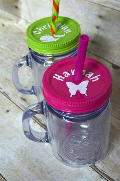 Personalized Plastic Mason Jar Tumblers for party gift? This item isn't available anymore, but the idea of it.