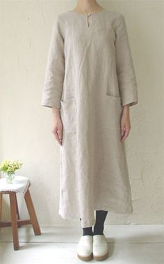 linnet - linen dress pattern - shown on model.                                                                                                                                                                                 More