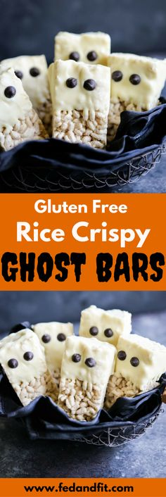 These gluten free rice krispie ghost bars are the perfect cute and festive Halloween dessert that are easy to make and guaranteed to be a hit at your Halloween party or as a surprise spooky treat in your kid's lunchbox! Gluten Free Rice, Gluten Free Treats, Gluten Free Desserts, Halloween Desserts, Halloween Party, Halloween Treats, Clean Eating Sweets, Fed And Fit, Healthy Living Recipes