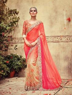 LadyIndia.com # Wedding Sarees, Orange And Beige Georgette Saree With Embroidery Work Bridal Style Saree, Bridal Sarees, Wedding Sarees, Designer Sarees, New Fashion Trend Sarees, https://ladyindia.com/collections/ethnic-wear/products/orange-and-beige-georgette-saree-with-embroidery-work-bridal-style-saree