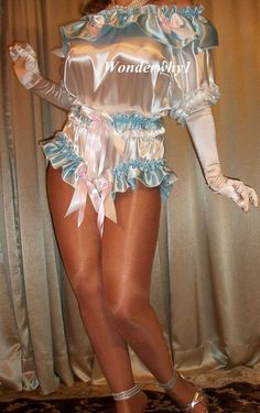 Brides White Baby Blue Full Panty Knickers Satin Teddie Romper Bodysuit L XL