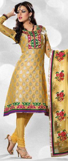 #Yellow Jacquard Churidar Kameez @ $91.44