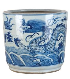 Blue and White Chinese Porcelain Dragon Planter – The Pink Pagoda