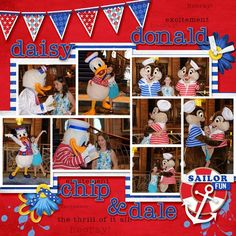 Disney cruise Scrapbook Page Layouts | Disney Cruise Scrapbook Layout - Daisy Donald Chip Dale