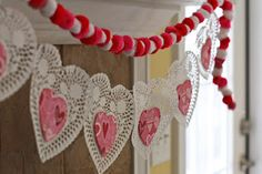 pom pom garland and heart doily garland