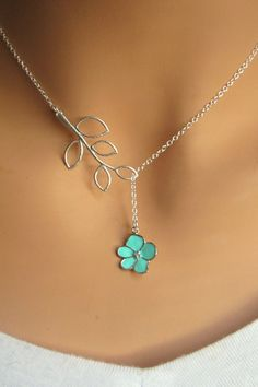 Aqua Orchid Flower with CZ and Branch lariat by RoyalGoldGifts