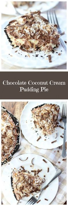 no bake chocolate coconut cream pie pin (Favorite Desserts Coconut Cream) Coconut Recipes, Tart Recipes, Baking Recipes, Chocolate Desserts, No Bake Desserts, Dessert Recipes, Chocolate Cream, Pie Dessert, Eat Dessert First