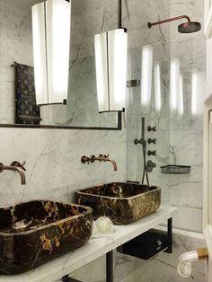 Colin Radcliffe, Cleveland Square interiors. Amazing bespoke Portoro marble washbasins.