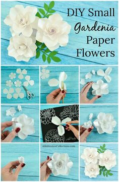 Paper flower wedding bouquet. DIY paper flower bouquet. Wedding bouquet alternative. White gardenia paper flowers. Printable flower templates.
