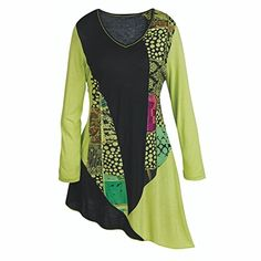 Women's Tunic Top - Lime Dots And Flowers Asymmetrical Sh...