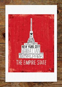 11x14 Empire State Building New York City Hand by groovygravy, $30.00