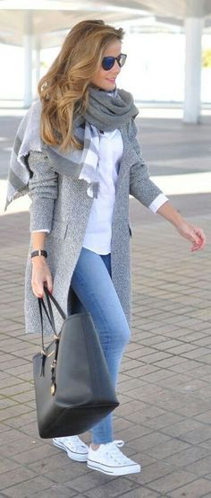 summer outfits Grey Coat + White Sneakers + White Shirt