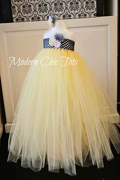 Charcoal gray, butter yellow, and white tutu dress.  Beautiful for flower girls or any special occasion.