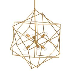 A modern geometric form and an innovative use of materials make the Aerial Chandelier an unforgettable showstopper. A series of angular cubes offer a whimsical element and give life to the wrought iron framework. A stunning Antique Gold Leaf finish gives off a warm golden glow. Whether in formal or contemporary settings, this piece is sure to wow.    Material: Wrought Iron  Finish: Antique Gold Leaf