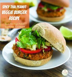 Quick, easy, and packed with protein and restaurant-worth flavor, these Spicy Thai Peanut Veggie Burgers are a great alternative to takeout. Find more recipes in THE HIGH-PROTEIN VEGETARIAN COOKBOOK by Katie Parker and Kristen Smith (available now). Vegetarian Cookbook, Vegetarian Recipes, Cooking Recipes, Healthy Recipes, Healthy Options, Beet Burger, Veggie Burgers, Meatless Burgers, Veggie Patties