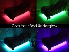 Your Bed Underglow! Give your bed 'underglow' - Does your child have a night light? What kid wouldn't absolutely love this glowing bed?Give your bed 'underglow' - Does your child have a night light? What kid wouldn't absolutely love this glowing bed? Star Wars Zimmer, Gamer Bedroom, Star Wars Room, Cute Room Ideas, Bedroom Ideas For Teen Boys, Boys Room Ideas, Cool Boys Room, Dorm Ideas, Small Room Bedroom