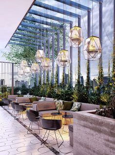 Lounge Design, Terrace Design, Cafe Design, Design Design, Modern Restaurant Design, Rooftop Restaurant, Café Bar, Restaurant Interior Design, Hospitality Design