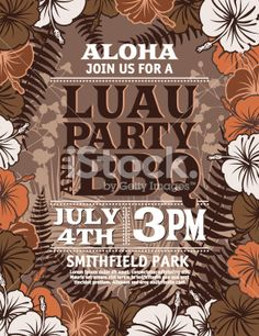 Aloha Hawaiian Party Invitation With Hibiscus Flowers Royalty Free Stock Vector Art Illustration