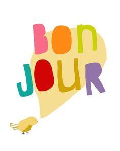 LITTLE BONJOUR - bird art print french modern children nursery - studio mela. $20.00, via Etsy.