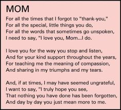thank you mom quotes from daughter - Google Search #MotherandGrandmotherGifts