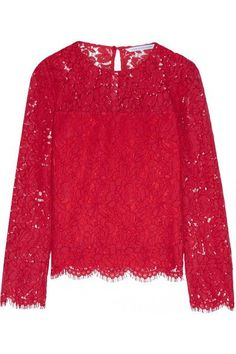 Diane von Furstenberg - Yeva Corded Lace Top - Red - US12